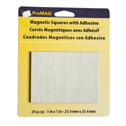 "ProMAG Magnetic Squares, 1"", Black/White, Pack Of 24"