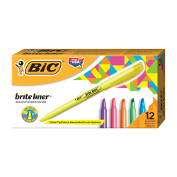 BIC® Brite Liner® Highlighters, Assorted Colors, Box Of 12