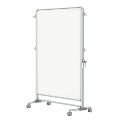"Ghent Nexus Jr. Partition Mobile Porcelain Magnetic Double-Sided Whiteboard, 76 1/8"" x 52 3/8"", Satin Aluminum Frame"
