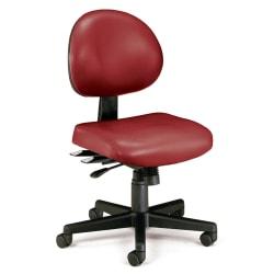 OFM Anti-Microbial Vinyl Multi-Shift Task Chair, Wine/Black