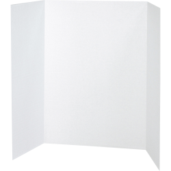 """Pacon® 80% Recycled Single-Walled Tri-Fold Presentation Boards, 40"""" x 28"""", White, Carton Of 8"""