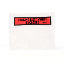 "3M™ Top View ""Packing List/Invoice Enclosed"" Envelopes, Orange, Box Of 100 Envelopes"