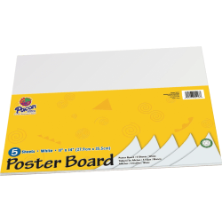 "Pacon® Peacock® Coated Poster Board, 11"" x 14"", White, Pack Of 5"