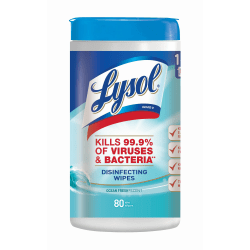 Lysol® Disinfecting Wipes, Ocean Fresh Scent, 80 Sheets Per Tub, Box Of 6