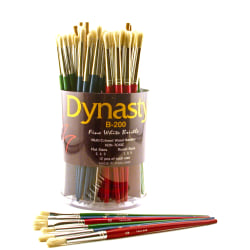 Dynasty Fine White Bristle Paint Brushes B-200, Assorted Sizes, Assorted Bristles, Multicolored, Pack Of 72