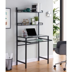 Southern Enterprises Brax Metal Glass Small Space Desk With Hutch, Black