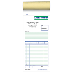 """Custom Pre-Formatted 2-Part Business Forms, Sales Order Book, 3-3/8"""" x 7"""", White/Canary, 50 Sets Per Book, Box Of 10 Books"""