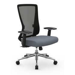 Realspace® Levari Faux Leather Mid-Back Task Chair, Gray/Black
