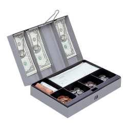 """Sparco Steel Combination Lock Cash Box With Tray, 3 1/4"""" x 11 1/2"""" x 7 3/4"""", Gray"""