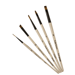 Robert Simmons Simply Simmons Value Paint Brush Set, Go To Set, Assorted Sizes, Assorted Bristles, Synthetic, White, Set Of 5