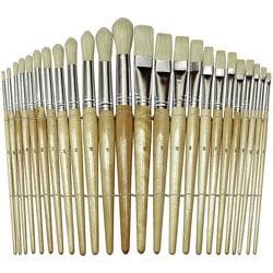 Chenille Kraft Flat And Round Wood Paint Brush Set, Flat; Round Bristle, Hog Hair, Brown, Set Of 24
