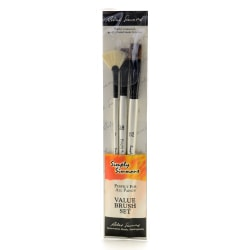 Robert Simmons Simply Simmons Value Paint Brush Set, Grass And Grain, Assorted Sizes, Assorted Bristles, White, Set Of 3