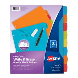 "Avery® Big Tab™ Write & Erase Durable Plastic Dividers, 8 1/2"" x 11"", Multicolor, 8-Tab"