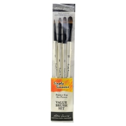 Robert Simmons Simply Simmons Value Paint Brush Set, Assorted Sizes, Filbert Bristle, Synthetic, White, Set Of 4