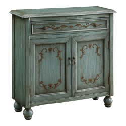 "Coast To Coast 1-Drawer 2-Door Cabinet, Teal/Blue, 34""H x 35""W x 12""D"