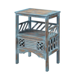 "Coast to Coast Distressed 1-Drawer Accent Table, 29""H x 19-1/2""W x 14""D, Blue/Brown"