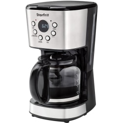 Starfrit 12-Cup Drip Coffee Maker - Programmable - 900 W - 1.90 quart - 12 Cup(s) - Multi-serve - Timer - Black, Stainless Steel - Stainless Steel, Glass