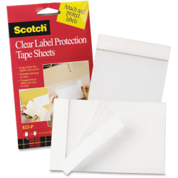 "3M™ Label Protection Tape Sheets, 4"" X 6"" - 4"" Width x 6"" Length - Polypropylene Backing - 2 / Pack - Clear"