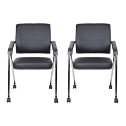 Boss Office Products Nesting Chairs, Black/Chrome, Set of 2