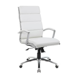 Boss Office Products CaressoftPlus™ Executive High-Back Chair, White/Chrome