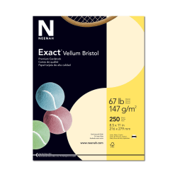 """Exact® Vellum Bristol Cover Stock, 8 1/2"""" x 11"""", 67 Lb, Ivory, Pack Of 250 Sheets"""
