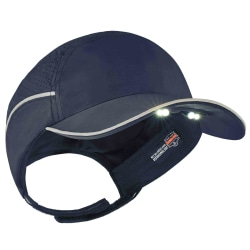 Ergodyne Skullerz 8965 Lightweight Bump Cap Hat With LED Lighting, Long Brim, Navy