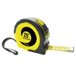 Boardwalk Easy-Grip Tape Measure, 25', Black/Yellow
