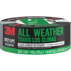 "Scotch All-Weather Tough Duct Tape - 45 yd Length x 1.88"" Width - 1 Roll - Gray"