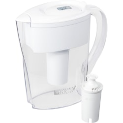 Brita Space Saver Water Filter Pitcher - Pitcher - 40 gal / 2 Month - 6 Cups Pitcher Capacity - 2 / Carton - White