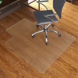 "ES Robbins Economy Series Hardwood Chairmats - Hard Floor, Wood Floor, Tile Floor - 53"" Length x 45"" Width - Lip Size 12"" Length x 25"" Width - Rectangle - Vinyl - Clear"