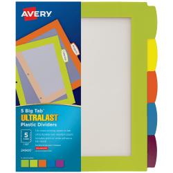 Avery® Big Tab™ Ultralast™ Plastic Dividers, 5-Tab, Multicolor