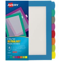 Avery® Big Tab™ Ultralast™ Plastic Dividers, 8-Tab, Multicolor