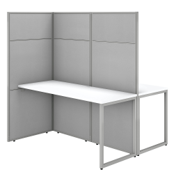 "Bush Business Furniture Easy Office 60""W 2-Person Cubicle Desk Workstation With 66""H Panels, Pure White/Silver Gray, Premium Installation"