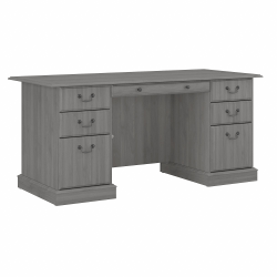 Bush Furniture Saratoga Executive Desk With Drawers, Modern Gray, Standard Delivery