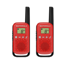 "Motorola® TalkAbout® T110 Two-Way Radios, 5.35""H x 1.91""W x 1.05""D, Red/Black, Pack Of 2 Radios"