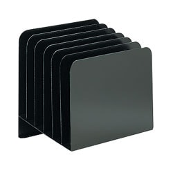 Office Depot® Brand Slanted Recycled Vertical File Organizer, 6 Compartments, Black