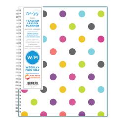 "Blue Sky™ Teacher Weekly/Monthly CYO Planner, 8-1/2"" x 11"", Teacher Dots, July 2020 To June 2021, 100330-A"