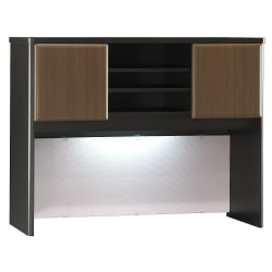 "Bush Business Furniture Office Advantage Hutch 48""W, Sienna Walnut/Bronze, Standard Delivery"