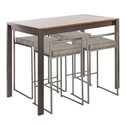 LumiSource Fuji Industrial Counter-Height Dining Table With 4 Stools, Antique Metal/Walnut/Stone Cowboy
