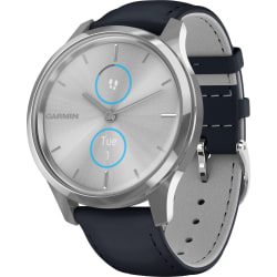 """Garmin vívomove Luxe GPS Watch - Wrist - Bluetooth - GPS - 120 Hour - Round - 1.65"""" - Silver Case - Navy Band - Sapphire Crystal Lens, Stainless Steel Bezel - Stainless Steel Case - Leather Band - Water Resistant"""