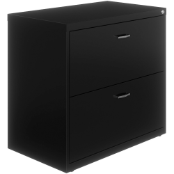 """Lorell® 36""""W Lateral 2-Drawer File Cabinet With Arc Pull, Black"""