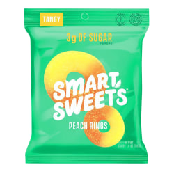 SmartSweets Peach Rings, 1.8 Oz, Pack Of 12 Bags