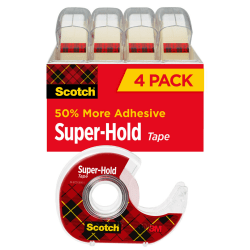 """Scotch® Super-Hold Tape, With Handheld Dispenser, 3/4"""" x 650"""", Clear, Pack Of 4 Rolls"""