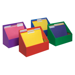 "Classroom Keepers Folder Holders, 9 5/8""H x 11 3/4""W x 5 3/4""D, Assorted Colors, Pack Of 4"