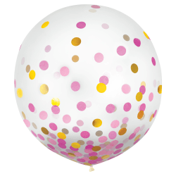 """Amscan 24"""" Confetti Balloons, Gold/Pink, 2 Balloons Per Pack, Set Of 2 Packs"""