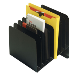Office Depot® Brand Slanted Recycled Vertical File Organizer, 8 Compartments, Black