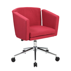Boss Office Products Metro Club Mid-Back Desk Chair, Marsala Red/Chrome