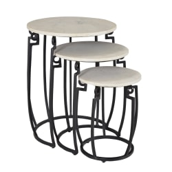 Coast to Coast Round Marble Nesting Tables, White, Set Of 3 Tables