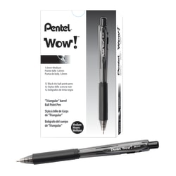 Pentel® WOW!™ Retractable Ballpoint Pens, Medium Point, 1.0 mm, Transparent Black Barrels, Black Ink, Pack Of 12