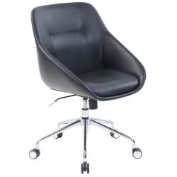 Elle Decor Taissy Bonded Leather Mid-Back Task Chair, Noir